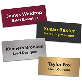 Text with Logo /& pin attached laserable plastic 70X23mm Name Badge
