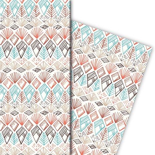 Leuke ethno cadeaupapierset (4 vellen), decoratiepapier, papier om in te pakken met Indiaanse patronen, lichtblauw, universeel pakpapier om mooier te schenken, 32 x 48 cm