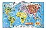 Janod- Puzzle di Legno Il Mondo Magnetico, 92 Pezzi, Versione Inglese, J05504...