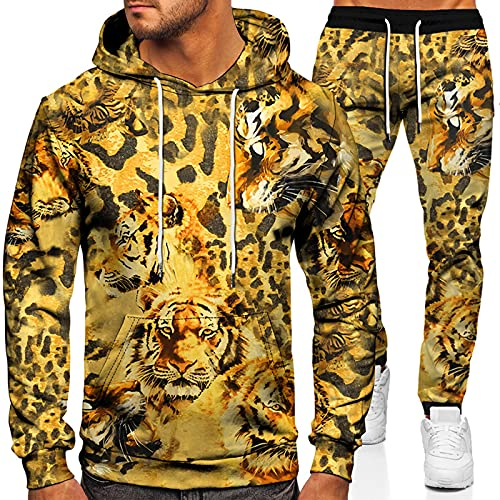URVIP Unisex 3D-Bedruckter Hoodie Zweiteiliges Set Wolf Löwen Tiger Trainingsanzüge Kapuzenpullover Jogger Gym Sport Sweat Anzug Hosen Outfits Colour-30 L
