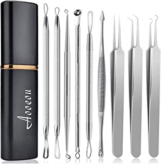 Blackhead Remover Acne Tool Kit, Aooeou Professional Stainless Steel Curved Pimple Tweezers Comedone Extractor Instrument Tool Set for Curing Facial Blemish Whitehead