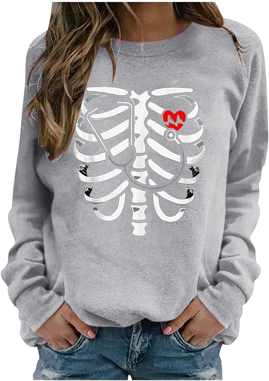 Halloween Sweatshirts for Women Casual Long Sleeve, Skeleton Halloween Costumes Pullover Tops Crewneck Sweater Blouse