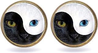 أقراط ZhYin Yang Tai Chi Cat Eye Charm Time Gem Glass Stud (0016)