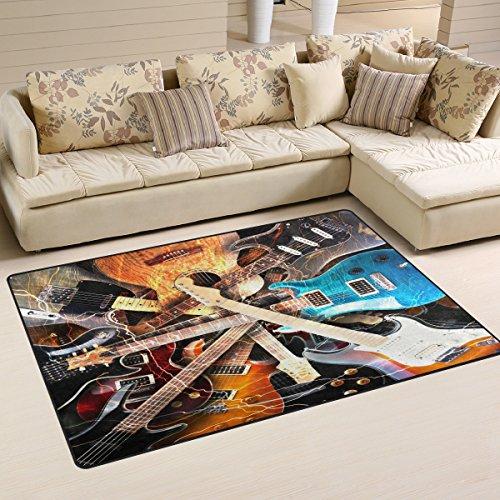 Use7 Tapis antidérapant pour salon, chambre à coucher, motif guitare électrique, 100 x 150 cm