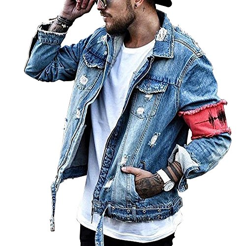 iooho Men's Denim Jacket Ripped Distressed Jeans Jacket Rugged Trucker Jacket for Man(Blue,3XL)