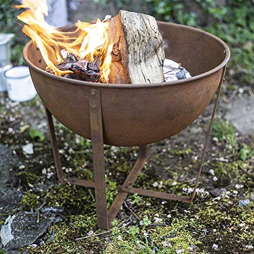 Photo of La Hacienda 58564 Oxidised Tamba Small Fire Pit Basket Bowl Outdoor Heater