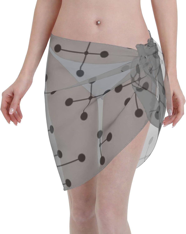 Midcentury Modern Dots 111 Women Chiffon Beach Cover ups Beach Swimsuit Wrap Skirt wrap Bathing Suits for Women