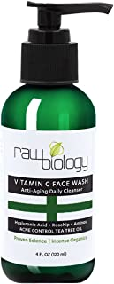 RawBiology Vitamin C Face Wash. ANTI AGING & ADULT ACNE Control. All in 1 Cleanser, Toner, and Wrinkle Reducer