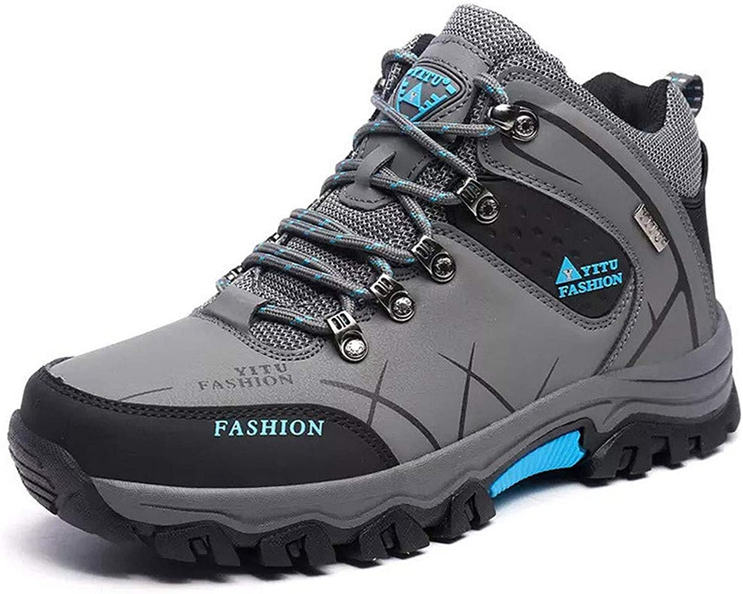 TECHWILL Men's Hiking Boots Suede Leather Outdoor Waterproof Backpacking shoes bluee