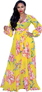 Womens Stylish Chiffon V-Neck Printed Floral Maxi Dress with Waisted Belt Plus Size (FBA)