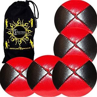 5x PRO Jonglerie Beanbag Jonglage Balles 5x Balles de Jonglage THUD En Cuir su/ède Super Durable + Sac de voyage. Noir//Blanc Mr Babache Livret sur les techniques de jonglage Suede en fran/çais