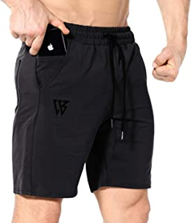 ZENWILL Mens Gym Running Shorts, Workout Athletic Bodybuilding Fitness Shorts with Zip Pockets