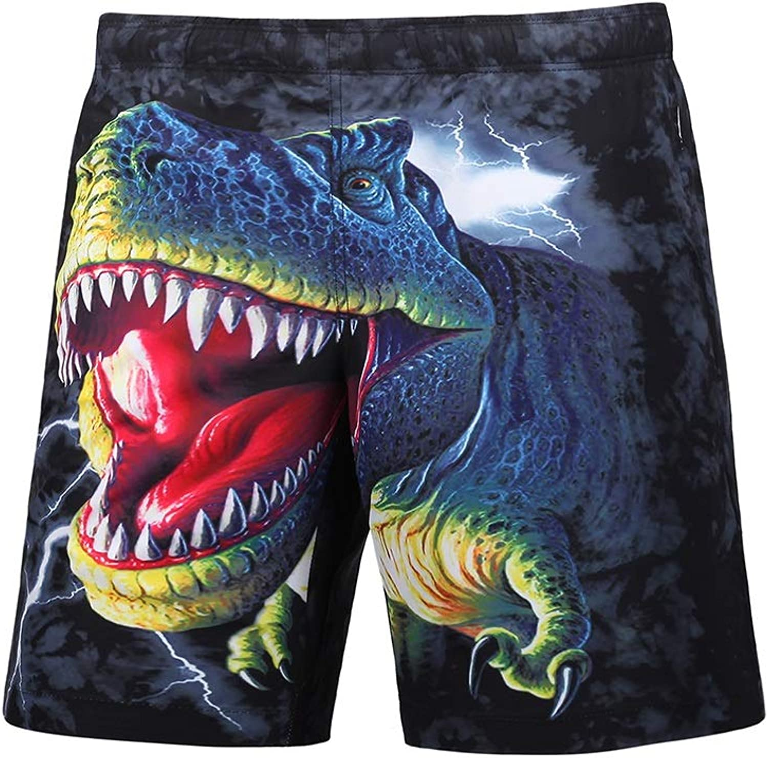New Men's Summer Beach Shorts Dinosaur 3D Printed Trunks Beach Pants (color   Multi-colord, Size   XXL)