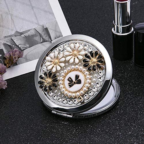 Bmstjk Mini Pocket Kosmetik Kosmetikspiegel, 2 Gesichtsvergrößerungsspiegel Make-up Bling Strass Bowknot Flower, für Party Favors7x7Cm