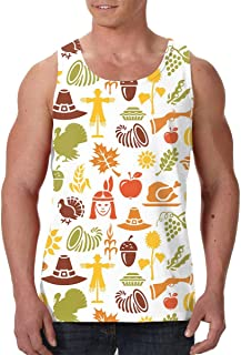 Hateone Men's 3D Printed Sleeveless Tank Top Indian Style Thanksgiving Day Casual Sport Gym Vest Shirt