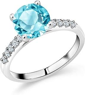 Gem Stone King 10K White Gold Swiss Blue Topaz and White Created Sapphire Women Engagement Ring (2.65 Cttw, Gemstone Birth...