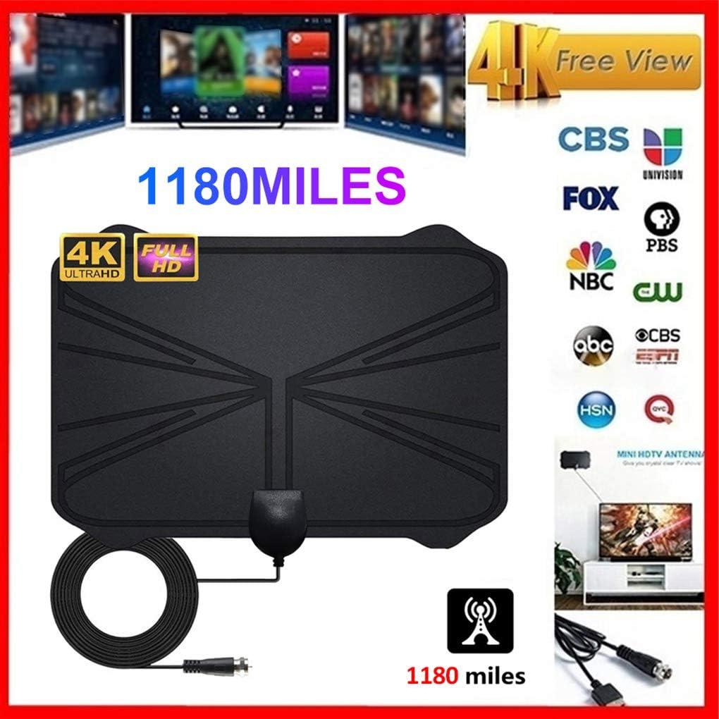 Antena de televisi/ón DVB-T//DVB-T2 para Interiores 1080p, HDTV, 65 km, 40 Millas superfina, Alta recepci/ón para la Mejor recepci/ón de VHF//UHF//FM con Cable coaxial de 3 m Tilview