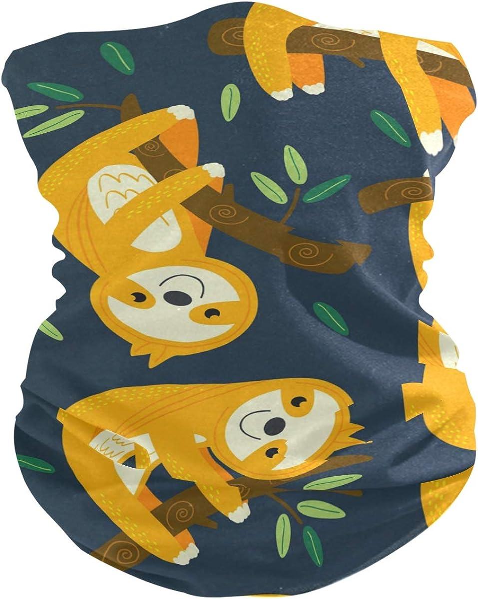 Face Mask Bandana for Women Men, Sloth Pattern Neck Gaiter Balaclava Face Cover Sun Dust Mask Magic Scarf Headwear