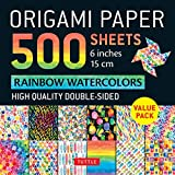 """Origami Paper 500 sheets Rainbow Watercolors 6"""" (15 cm): Tuttle Origami Paper: High-Quality Double-Sided Origami Sheets Printed with 12 Different Designs (Instructions for 5 Projects Included)"""