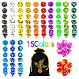 105PCS DND Dice, QMAY Polyhedral Game Dice Set Double-Colors Role Playing Dice for DND RPG MTG Table Games Dice D4 D8 D10 D12 D20