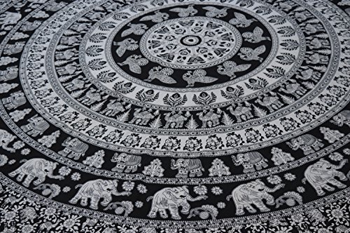 Handicrunch Elephant Mandala Teppich, Hippie Wandteppiche , Wandteppiche , Tapisserie Wandbehang , IndianTapestry, Bohemian Bedding Psychedelic tapestry Size 95 x 85 Inch's