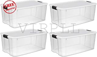 VIRPLL Large 116 Qt. Clear Ultra Latch Storage Container Box Tote (4 Pack)