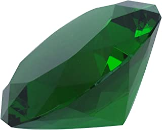 Giant Green Cut Glass Diamond-Shaped Crystal