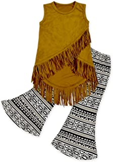 Rush Dance Girls Toddler Buckskin Tassel Vest & Vintage Bell Bottom Pants Set