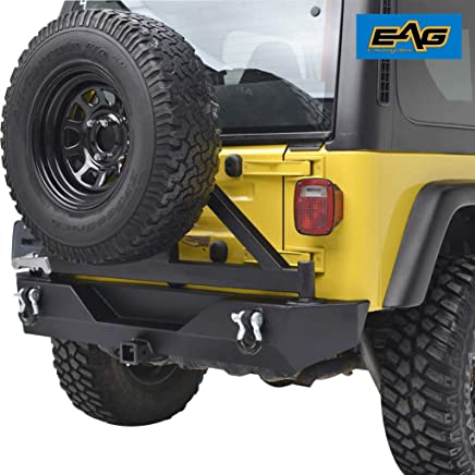 EAG Rear Bumper with Tire Carrier Swing Off Road for 87-06 Jeep Wrangler TJ