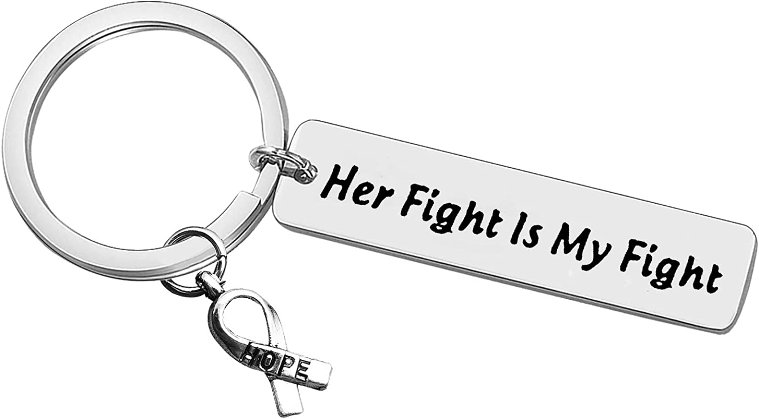 Cancer Awareness Keychain Cancer Survivor Gift Cancer Fighter Gift Her Fight is My Fight Hope Keychain Cancer Fighter Anti-Cancer Strong Inspirational Gifts Recovery Keyring Gifts for Women Girls