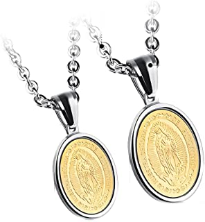 JAJAFOOK Lovers Stainless Steel Necklaces Our Lady of Guadalupe Religious Pendant, Set of 2