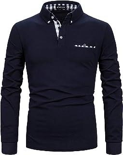 APAELEA Men Polo Shirt Long Sleeve Cotton Golf T-Shirt Casual Tops