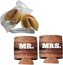 VictoryStore Wedding Proposal: Will You Marry Me? Fortune Cookie With Message Inside (2 Cookies + Mr and Mrs Wood Panel Can Cooler)