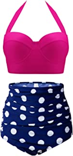 Womens Vintage Retro Polka High Waisted Underwire Bikini Two Piece Swimsuits