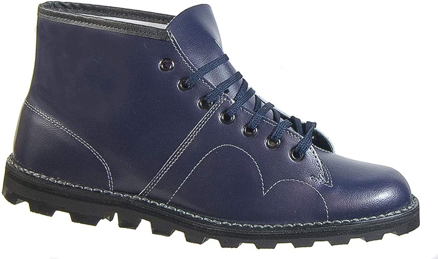 Mens Retro Monkey Boots Navy bluee Leather Laced