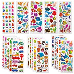 VALUE PACK OF STICKERS FOR KIDS: Each pack has 20 sheets, total more than 500 pieces stickers to makes for hours of creative activity fun! Such as letters, numbers, hearts, racing, butterflies, deep sea life, animals, fish, dinosaurs. Almost all the ...