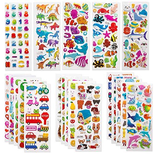 SAVITA 3D Aufkleber für Kinder & Kleinkinder 500+ Geschwollen Stickers Niedliche Verschiedene Set Buchstab en, Zahlen, Schmetterlinge, Fische, Dinosaurier und vieles mehr