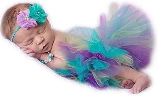 Newborn Baby Photo Shoot Props Girl Boy Lovely Costume Rainbow TuTu Dress Flower Headband Photography Props