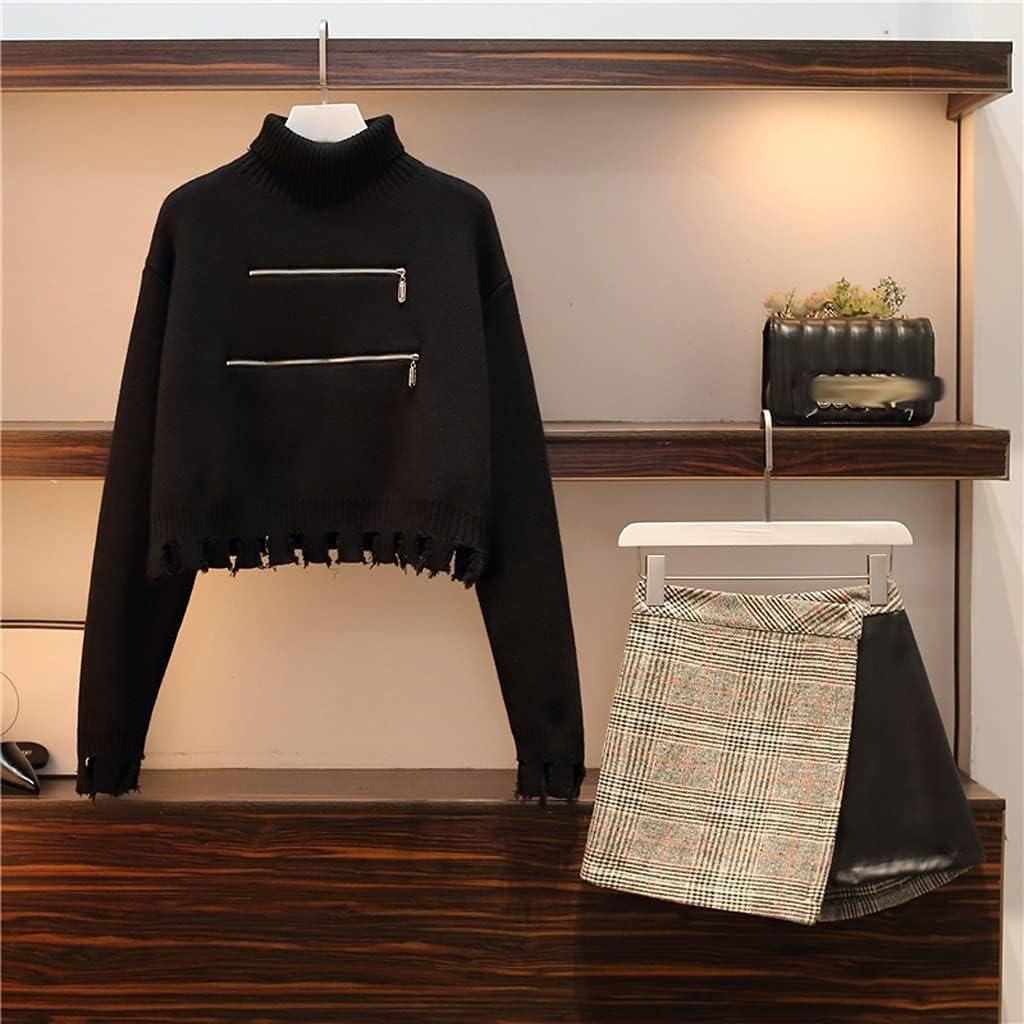 UXZDX Women's Long Sleeve Sweater Skirt Suit Casual Two-Piece Suit Two-Piece Set Western Style (Color : Black, Size : XXXX-Large)