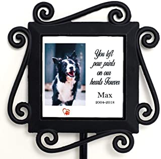 Wrought Iron Pet Memorial Garden Stake with Personalized Ceramic Tile Insert