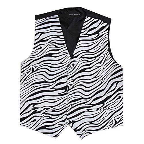 Mens Animal Print Tuxedo Vest Leopard Tiger Zebra Cheetah Prom Formal Wear Black White