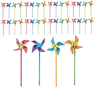 Kicko 36 Pieces Bright Polka Dots Pinwheels 4.25 Inches, on 11 Inch Wooden Stick Assorted Colors, Garden Ornaments, Patio Decor - Whimsical, Party Supplies Party Favor, Toy
