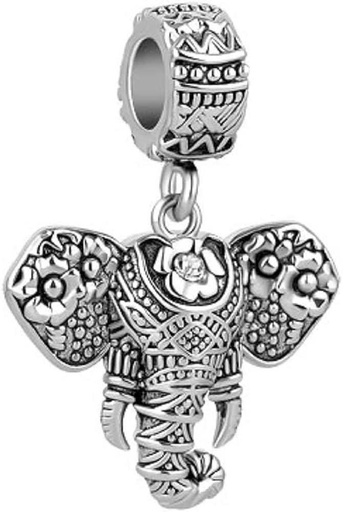 JewelryHouse Elephant Plant-Eating Mammal Large Animal Charms fit Bracelets