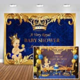 Mehofoto Baby Shower Backdrop Royal Prince Gold Crown Royal Blue Photography Background 7x5ft Vinyl Welcome Little Boy Baby Shower Banner Backdrops