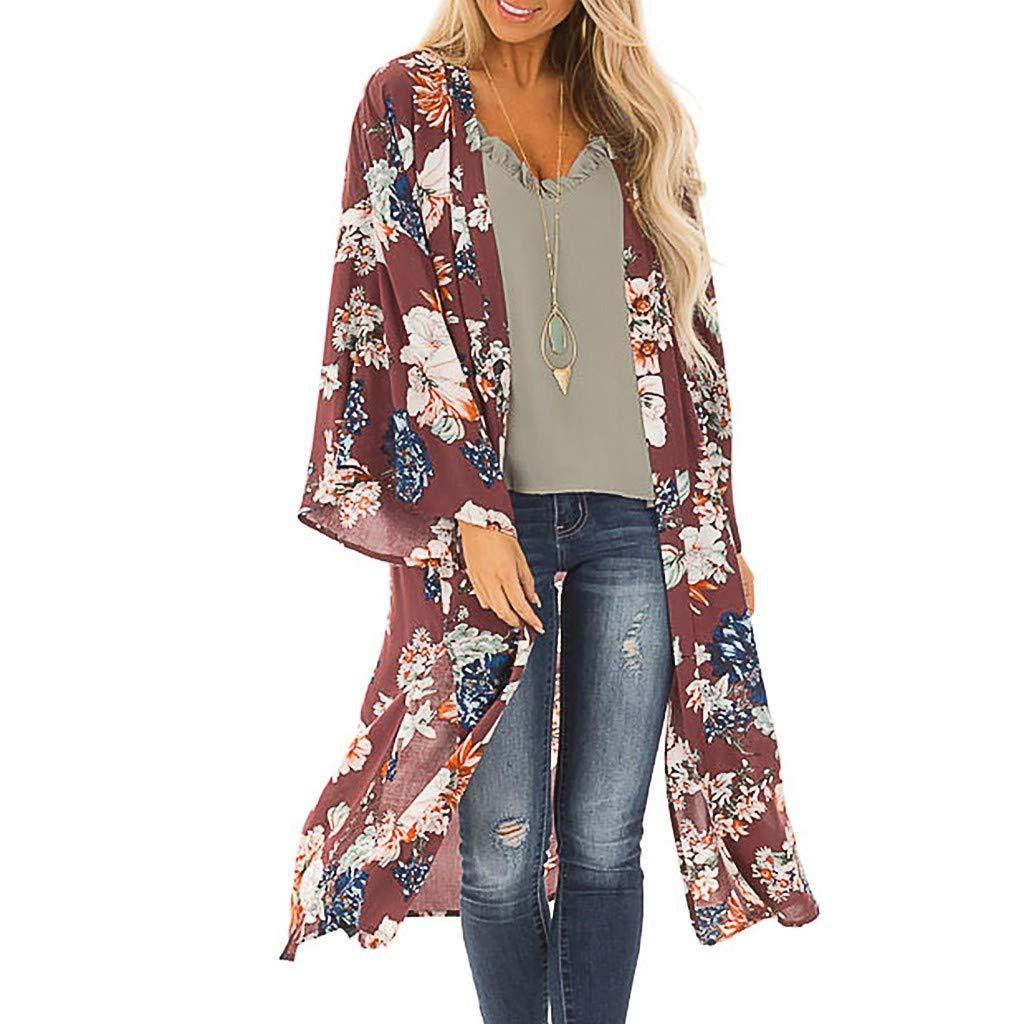 Women Kimono Cardigan Beach Sheer Cover up Summer Chiffon Print Tops