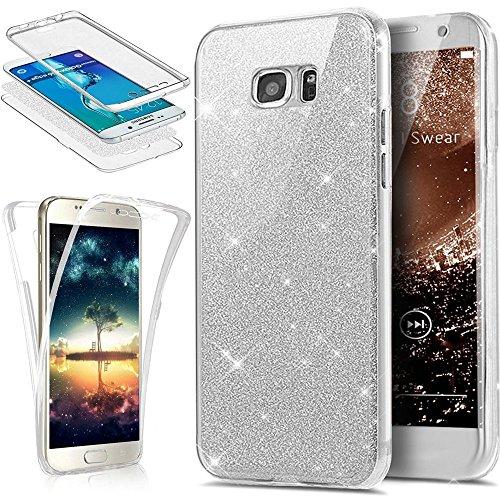 Ysimee Compatible con Funda Samsung Galaxy S6 Edge Plus,Transparente Silicona 360 Grados Completa Integral Brillo Brillante Suave Ultra Fina Delgado Bumper TPU Goma Protectora Carcasas,Silver