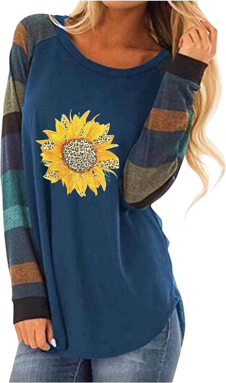 Long Sleeve Shirt Women, Womens Crew Neck Sunflower Printed Tunic Color Block Striped Raglan Shirt Tops Pullovers