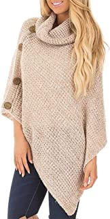 Bibowa Women's Poncho Sweater Pullover Cowl Neck Asymmetric Knit Sweater Speckled Shawl Fringe