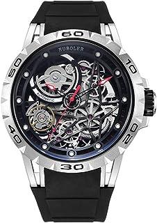 Huboler Men's Watch Skeleton Automatic Mechanical Stainless Steel Wrist Watches