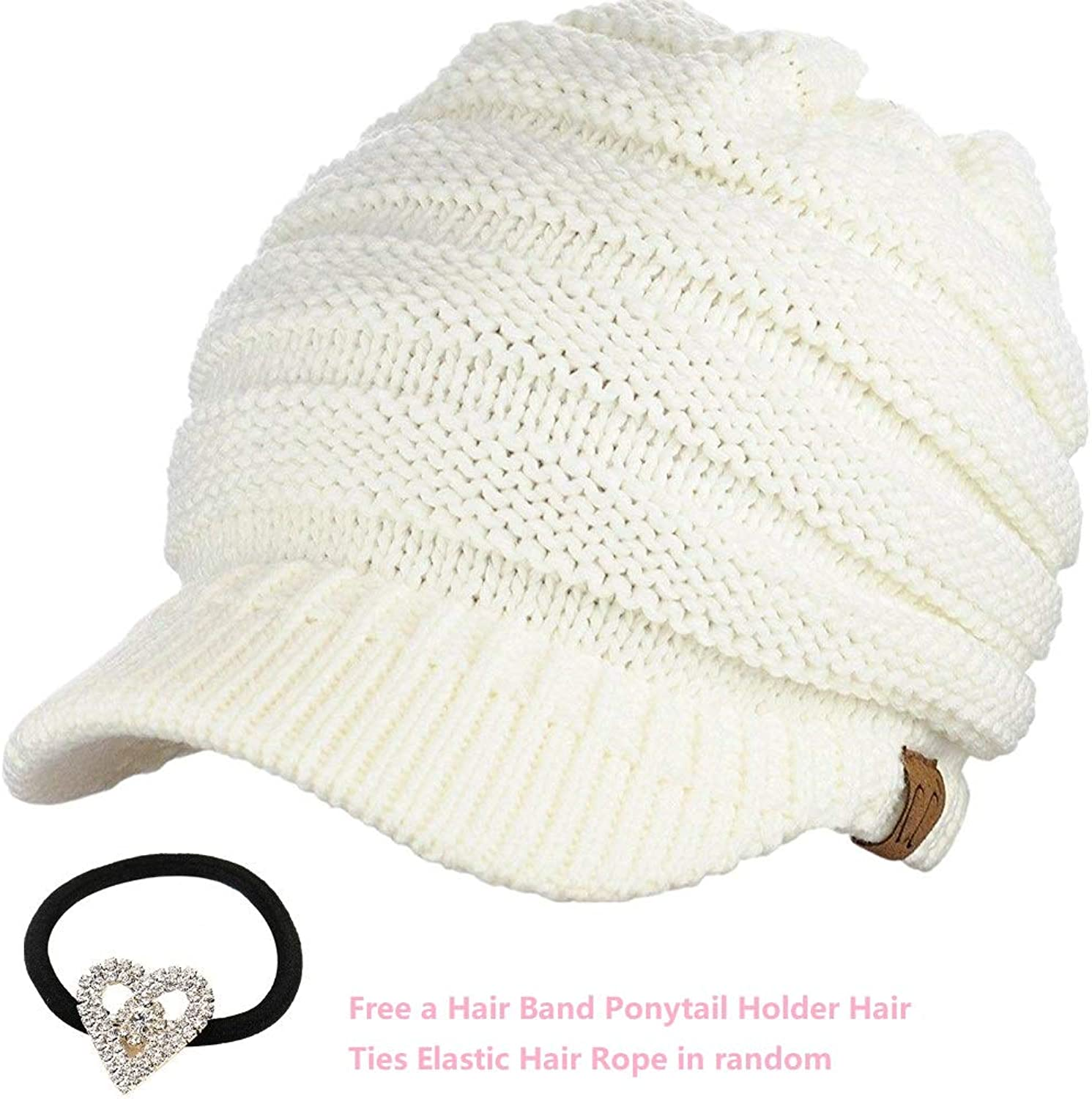 Beanie Ponytail Messy Tail Warm Winter Outdoor Runner High Bun White Ribbed Hat Cap Adjustable for Women